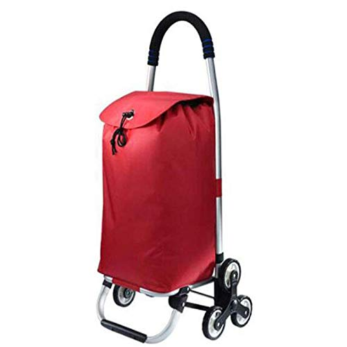 QXTT Shopping Trolley Lightweight AluminumAlloy Easy To Fold 2 In 1 Easy To Carry Shopping Cart 35L Large Capacity For The Elderly And Children To Buy Food,Red