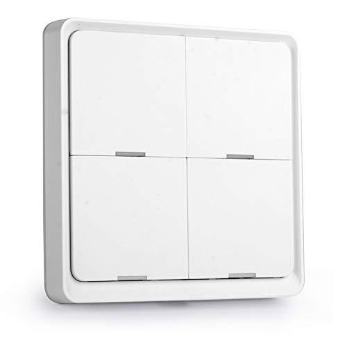 Tuya ZigBee Interruptor de escena inteligente inalámbrico Interruptor de escenario de 4 bandas Interruptor de teclas de escena de losa de 4 carreteras Interruptor Tuya Smarts Asistente de hogar