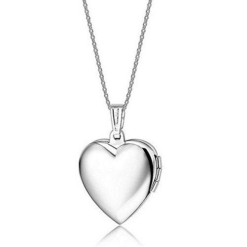Belons Silberfarben Blau/Rosa Titanstahl Epoxy Foto Medaillon Amulett Öffenbar Herz Anhänger Halskette Kette mit Anhänger Herzkette (Blau)