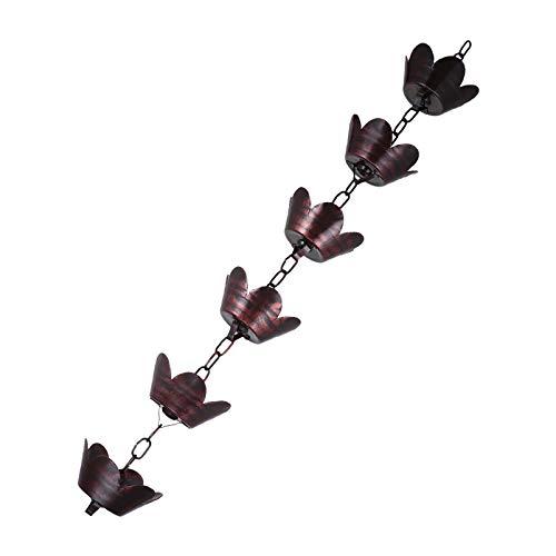 Hemoton Regenkette Metall Regenrinne Kette 1M Blütenblatt Form Wasser Entlang Der Kette Kreis Kleiderbügel Regenkette für Sammelbecher Downspout Verlängerung