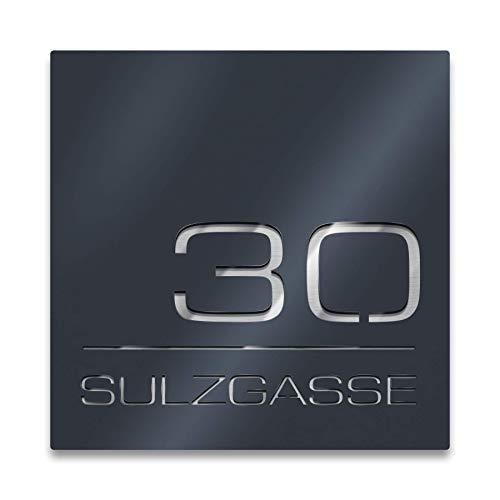Metzler Hausnummer aus Edelstahl - 23 x 23 cm - quadratisch - Rostfrei & wetterfest, individuell - nach Wunsch - made in Germany - Anthrazit RAL7016