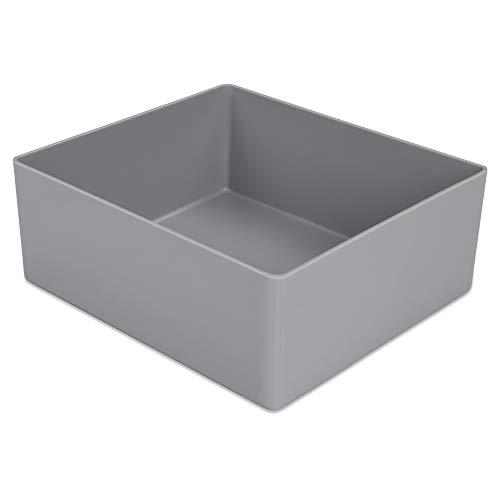 25 Stück Kunststoff-Einsatzkasten E 50/1, grau, 130x115x50 mm (LxBxH), für Schubladen, Schränke, KanbanSysteme, aus PS