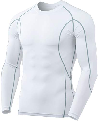 TSLA Men's Cool Dry Fit Long Sleeve Compression Shirts, Athletic Workout Shirt, Sports Base Layer T-Shirt, Active White, M