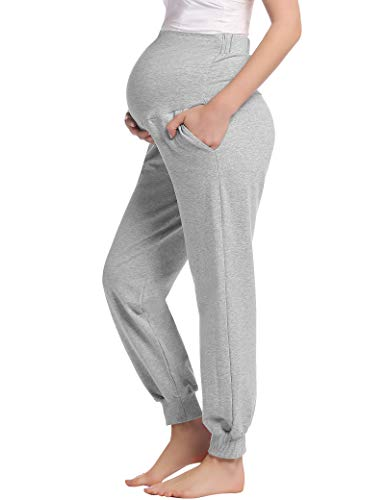 Lang Schlafanzug/Pyjama/Yoga Hose für Schwangere Umstands Schwangerschaft Jogginghose Bequeme Leichten(Hellgrau,XL)
