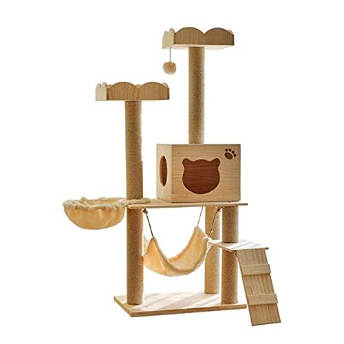 YAMMY Bola de Juguete Colgante de Madera Árbol de Gato Hamaca de apartamento Multicapa Columna de sisal Espesar Diseño Resistente al Desgaste Escaleras Cl (árbol de Gato)