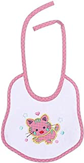 Lumex Cat Embroidered Drawstring Bib for Girls - Pink