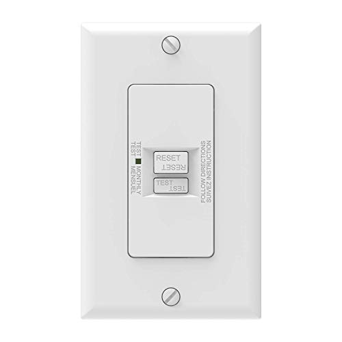 AIDA Self-Test 20 Amp Blank Face GFCI Indoor Receptacle Ground Fault Circuit Interrupter Faceless GFCI with LED Indicator,UL Listed,Back &Side Wire, White, 010091
