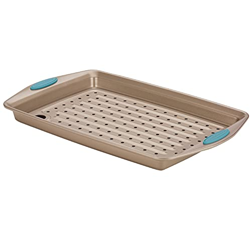 Rachael Ray Cucina Nonstick Bakeware Set with Grips, Nonstick Cookie Sheet / Baking Sheet and Crisper Pan - 2 Piece, Latte Brown with Agave Blue Handle Grips
