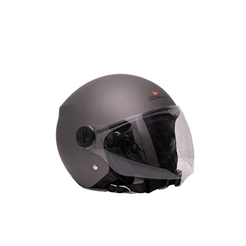 Scotland Motorcycle Dept 120013 NEW Restyling casco moto scooter visiera lunga, Titanio, L
