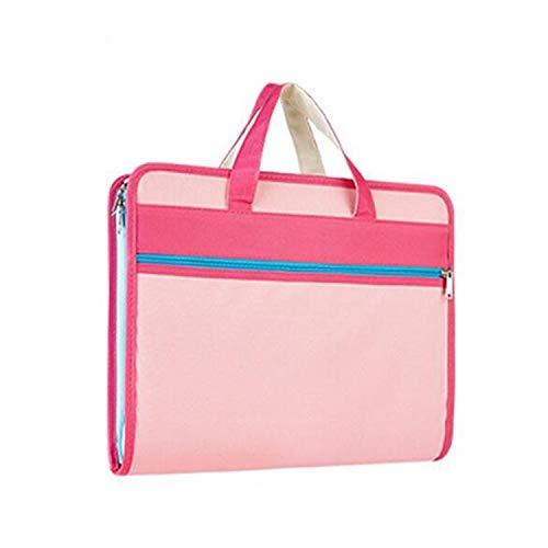 Zf el Clip de múltiples Capas de Tela Oxford A4 maletín portátil de la Cremallera, Monsteramy (Color : Pink)