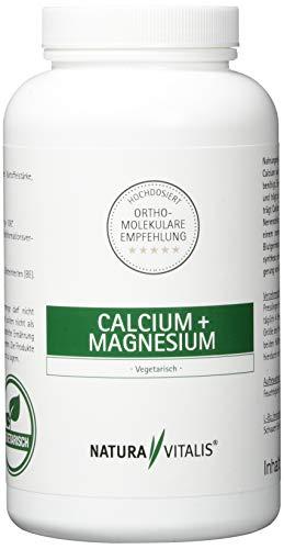 Natura Vitalis Calcium + Magnesium - Hochdosiert, 1500mg Calcium, 400mg Magnesium, 240 Presslinge