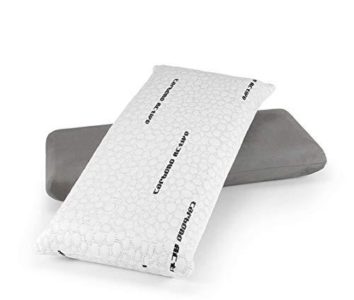 Dormidán - Almohada viscolastica viscoelástica de carbón Activo con Hilo de Plata, desenfundable 75 cm