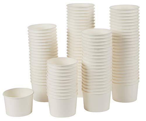 Eisbecher/Eisbecher – 100 Stück Einweg-Papier Dessert Eis Joghurt Schalen Party Supplies 150 ml weiß