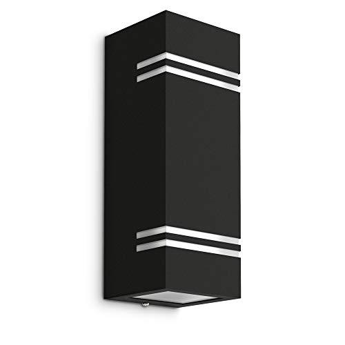 Schwarze LED Design Wandleuchte JOVO-L Up & Down - IP44 Schutz für Außen - 2-flammige Wandlampe inkl 2x LED GU10 6W warmweiß