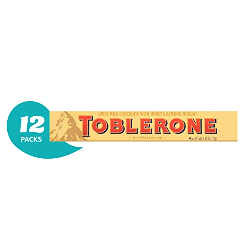 Toblerone Swiss Milk Chocolate with Honey and Almond Nougat, 3.52-Ounce Bars (Pack of 12)
