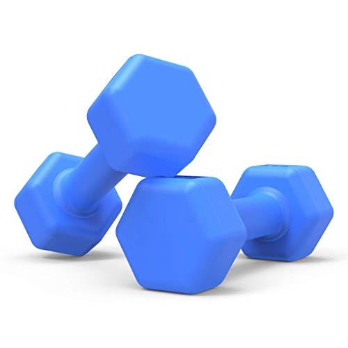 XIAOSAKU Hanteln Neopren Hantel Langhantel Damen Fitness Dumbbellgewichte, 2er-Set Fitness-Hanteln Trainieren (Color : Blue, Size : 1kg×2pieces)