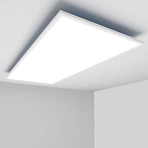 [Premium 138lm/W]OUBO LED Panel 120x60cm Deckenleuchte 72W 10000 Lumen Kaltweiß 6000K Weißrahmen, Einbauleuchten Set 230V, Wandleuchte, inkl. Trafo und Anbauwinkel