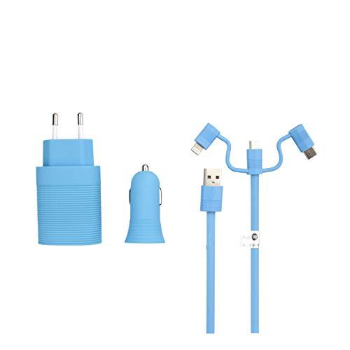 Muvit Life Pack Cargador de Coche USB+Cargador de casa USB+Cable 3 en...