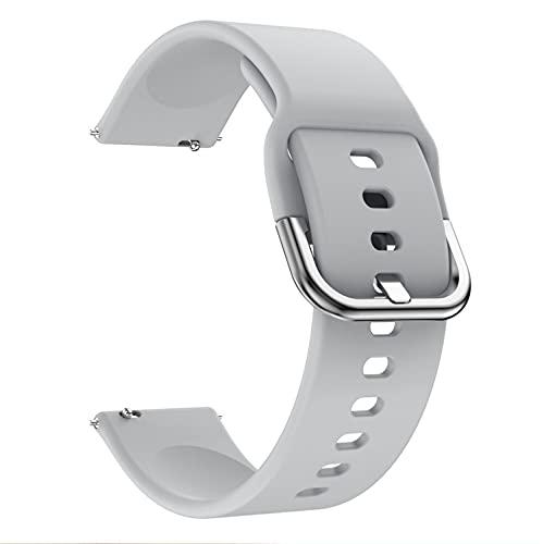 Correa de silicona compatible con Samsung Galaxy Watch 42 mm 46 mm Correa deportiva suave impermeable para Samsung Galaxy Watch 3 42 mm 45 mm (20 mm, gris)