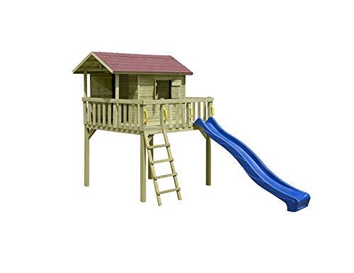 Baumhaus / Stelzenhaus Spielhaus 213x240x300cm mit Rutsche