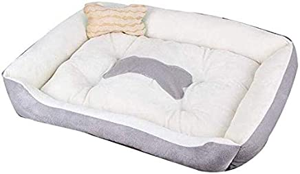 AMAZACER Short Suede + PP Cotton Dog Bed Deep Sleep Comfortable Pet Kennel Warm and Breathable Cat Supplies,B,60 * 45 * 15cm (Color : E, Size : 90 * 70 * 15cm)