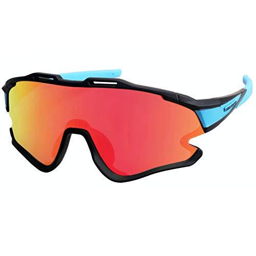 GIEADUN Gafas Ciclismo Polarizadas con 3 Lentes Intercambiables UV 400 Gafas,Corriendo,Moto MTB Bicicleta Montaña,Camping y Actividades al Aire Libre para Hombres y Mujeres TR-90 (Negro Azul)