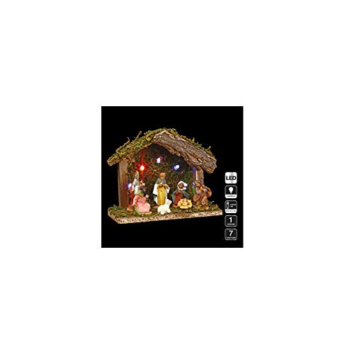 3 en 1 Ensemble de Noël : 1 crèche lumineuse + ses 7 santons