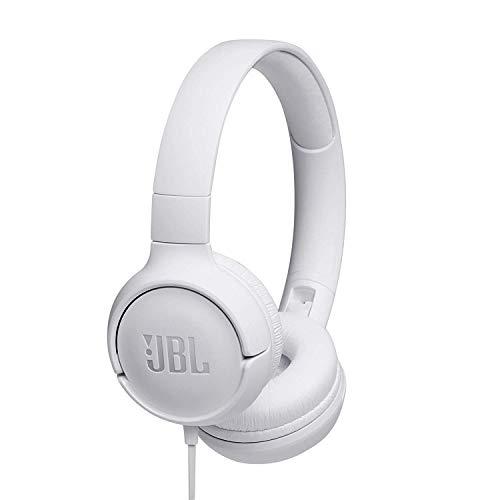 JBL Tune500 On-Ear Kopfhörer mit Kabel in Weiß – Ohrhörer mit 1-Tasten-Fernbedienung, integriertem Mikrofon & Sprachassistent – Telefonieren und Musik hören unterwegs