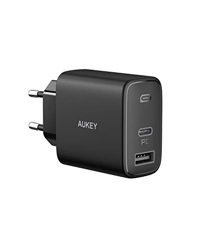 AUKEY Cargador USB C 32 W para iPhone 12, Cargador rápido PD de 20 W con Dynamic Detect y GAN Tech, Cargador USB para iPhone 12/12 Pro MAX, AirPods Pro, Google Pixel, iPad, Switch