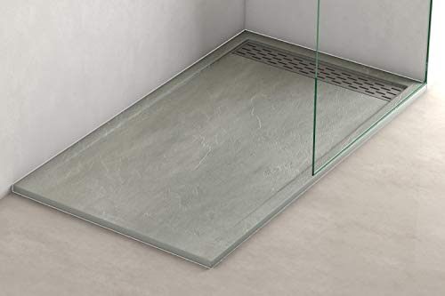 Plato ducha resina antideslizante textura pizarra Lane Bricodomo 80x160 Gris
