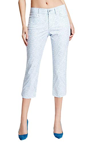NYDJ Not Your Daughters Jeans Svetlana Ditsy Denim Capri Light Blue & White Pants (14P x 23)