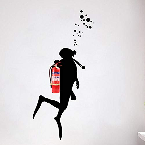 LBBWF Etiqueta Pared Calcomanías de Arte de Pared de buceador de Fuego para decoración de Oficina, Disfraz de extintor Etiqueta de Pared de Vinilo decoración de Pared de Arte Mural de Oficina