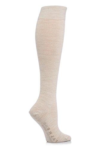 FALKE Sensitive Berlin Merino Wolle-Mix, anatomisch geformte links & rechts Gentle Grip Knee High Sockens - 5.5-8 Ladies - Bettwäsche Melange