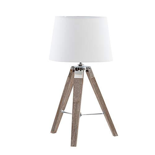 Italian Concept Beauty staande lamp met frame van hout en lampenkap van PVC, wit, één maat