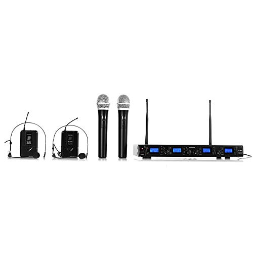 Malone UHF-550 Quartett 3 - set de micrófonos inalámbricos UHF de 4 canales, 2 x micrófonos de mano inalámbricos, 2 x micrófonos diadema inalámbricos, 4 x XLR y 1 x salida jack, estuche, negro