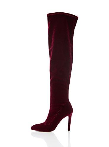 find. Kniestiefel Damen aus Velours, mit leichtem Glanz, Pfennigabsatz und spitzer Vorderkappe, Burgund, 38 EU