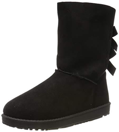 Warm Gefütterte Damen Stiefel Schlupfstiefel Boots Stiefeletten Schuhe 127999 Schwarz 39 Flandell