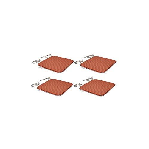 EZPELETA Set de 4 Coussins de chaises carrées Sol - 40 x 40 cm - Orange et gris