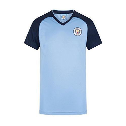 Manchester City FC - Camiseta Oficial para Entrenamiento - para Hombre - Poliéster - Azul Cielo Cuello de Pico - M