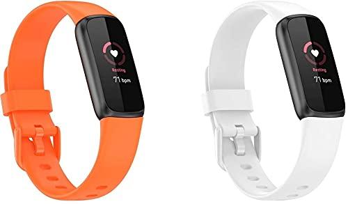 Classicase Correa de Reloj Recambios Correa Relojes Caucho Compatible con Fitbit Luxe - Silicona Correa Reloj con Hebilla (Pattern 3+Pattern 7)