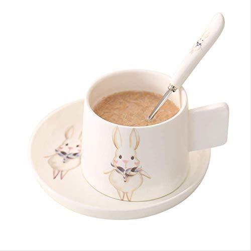 Kaffeebecher Sets Knochen China Kawaii Tier Italienisch Mit Untertasse Löffel Espresso Frühstück Milch Haferflocken Tasse Platte Keramik Cafe 2