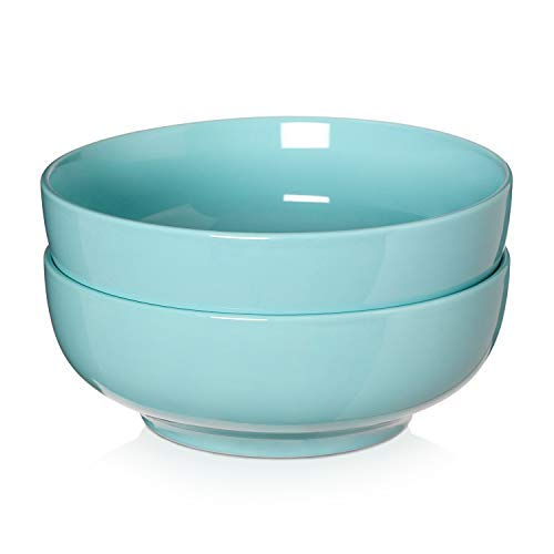 2 Packs, DOWAN Porcelain Serving Bowls, 2.8 Quarts Large Salad Bowls, Pasta Bowl Set, Chip Resistant Ceramic, Microwave and Dishwasher Safe, Stackable, 9.5 Inches, Turquoise