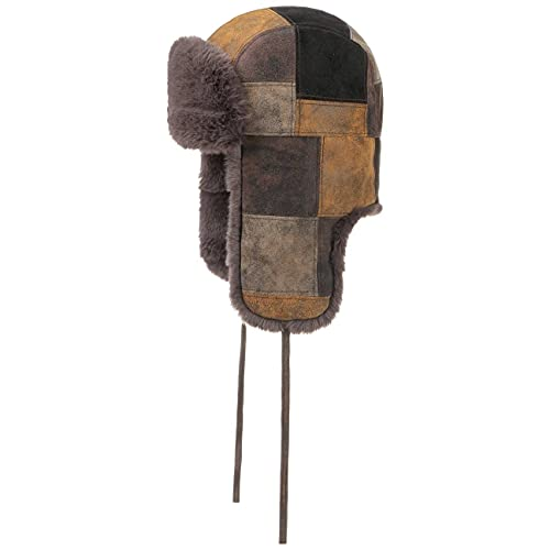Stetson Pigskin Patchwork Fliegermütze Herren - Futter aus 100% Baumwolle - warme Trappermütze aus echtem Leder - Fellmütze mit Ohrenklappen für den Herbst/Winter braun-schwarz M (56-57 cm)