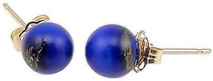 Trustmark 14K Yellow Gold 6mm Natural Blue Lapis Lazuli Ball Stud Post Earrings