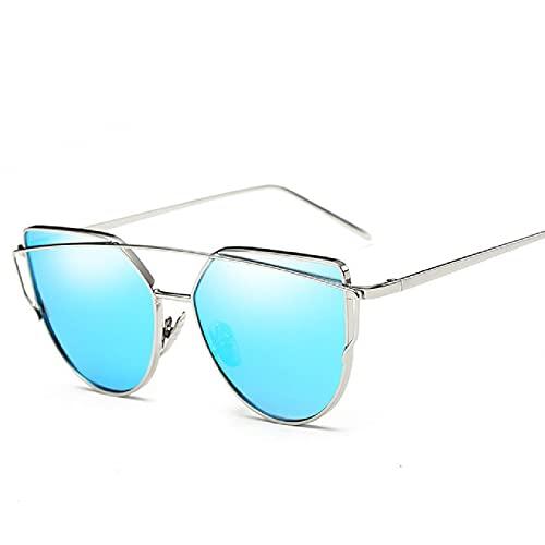 NBJSL Gafas de sol de ojo de gato para mujer, gafas de sol reflectantes coloridas de metal para mujer, gafas de sol retro (caja de embalaje exquisita)