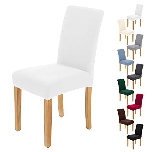 AngLink Juego de 4 fundas para silla, color marrón, elásticas, extraíbles, lavables, duraderas, universales, para comedor, hotel, banquete [blanco -Pack de 4]