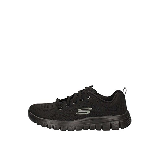 Skechers Women 12615 Low-Top Trainers, Black (Black Mesh/Trim Bbk), 6 UK (39 EU)