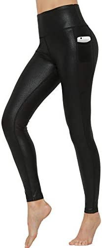 HARTPOR Women s Faux Leather Coated Capri Leggings Stretch High Waist Pocketed Workout Tights product image