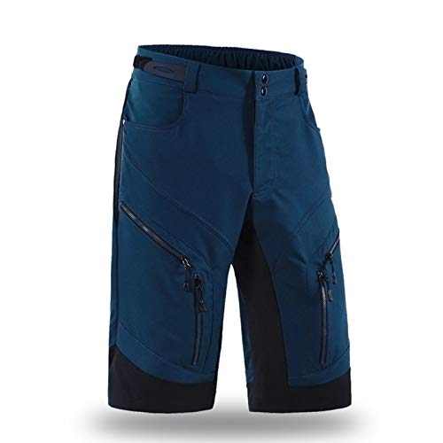 Hombre Pantalones Cortos De Ciclismo Resistente Agua Transpirable, MTB Bicicleta Montaña Ligero Holgado, Bicicleta Cremallera Deportes Aire Libre Running,Dark Blue,M