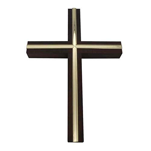 kruzifix24 Devotionalien Wandkreuz Buche braun gebeizt modern mit Goldstäben Metall als Kreuzauflage 20 x 14 x 2 cm Schmuckkreuz Holzkreuz für die Wand Schmuckkreuz